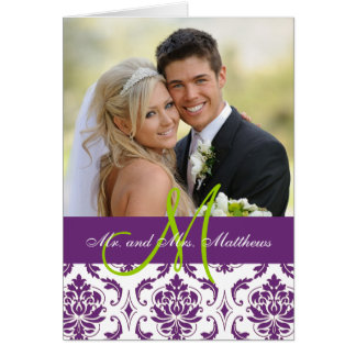 Purple Damask Wedding Photo Thank You Card
