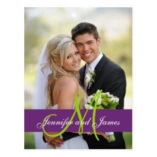 Purple Damask Wedding Photo Thank You Postcard