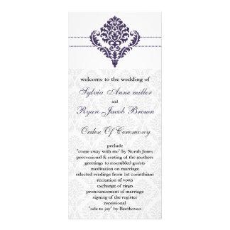 purple damask Wedding program Rack Card
