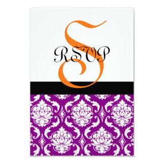 Purple Damask Wedding RSVP Card | Orange Monogram 9 Cm X 13 Cm Invitation Card