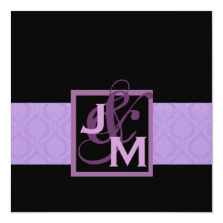 Purple Damask Wedding Set Card