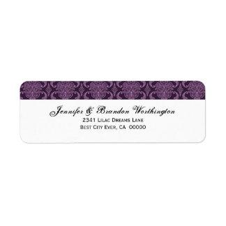 Purple Damask Wedding Set - Return Address Label