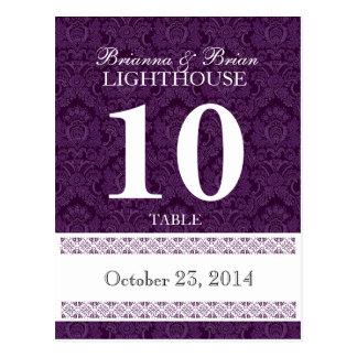 Purple Damask Wedding Table Number Card Reception