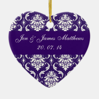 Purple Damask Wedding Thank You Ornament