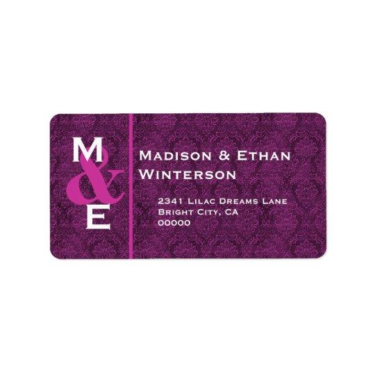 PURPLE Damask WeddingMonogram M002 Label