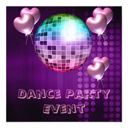 Purple Dance Party Event Mirrorball Love Balloons Custom Announcements
