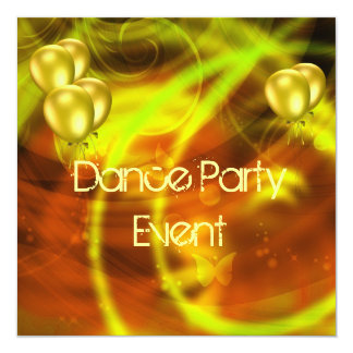 Purple Dance Party Event Yellow Abstract Balloons 13 Cm X 13 Cm Square Invitation Card