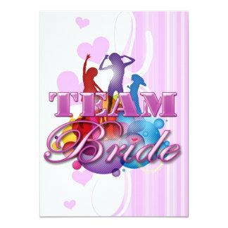 Purple dancing team bride bridesmaids bridal party 11 cm x 16 cm invitation card