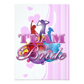 Purple dancing team bride bridesmaids bridal party 13 cm x 18 cm invitation card