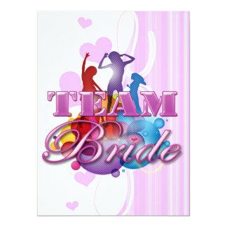 Purple dancing team bride bridesmaids bridal party 17 cm x 22 cm invitation card