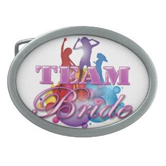 Purple dancing team bride bridesmaids bridal party oval belt buckles