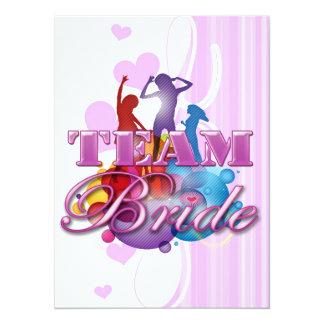 Purple dancing team bride bridesmaids bridal party personalized invites