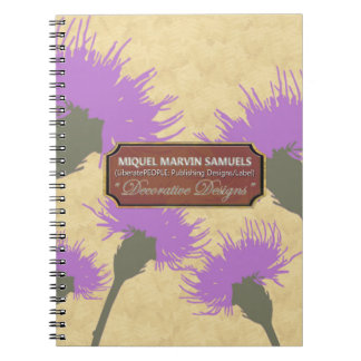 Purple Dandelion Gold Decorative Modern Notebook