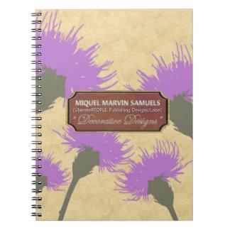 Purple Dandelion Gold Decorative Modern Notebook