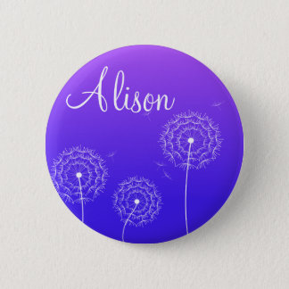 Purple dandelion in spring 6 cm round badge