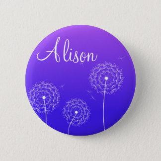 Purple dandelion in spring 6 cm round badge