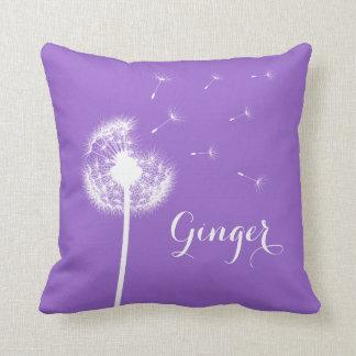 Purple Dandelion Throw Pillow
