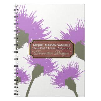 Purple Dandelion White Decorative Modern Notebook