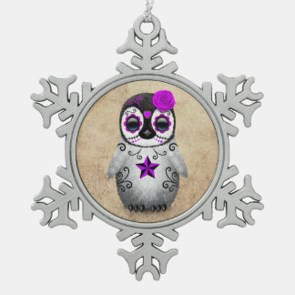 Purple Day of the Dead Sugar Skull Penguin Aged Pewter Snowflake Decoration