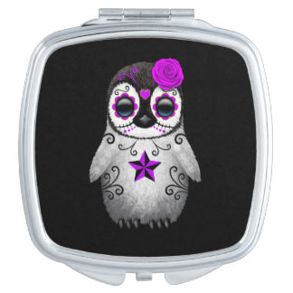 Purple Day of the Dead Sugar Skull Penguin Black Vanity Mirror