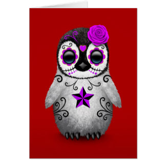 Purple Day of the Dead Sugar Skull Penguin Red Cards