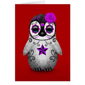 Purple Day of the Dead Sugar Skull Penguin Red Card