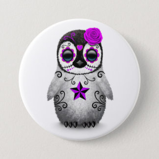 Purple Day of the Dead Sugar Skull Penguin White 7.5 Cm Round Badge