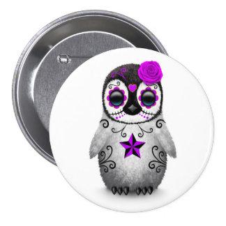 Purple Day of the Dead Sugar Skull Penguin White 7.5 Cm Round Badge