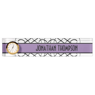 Purple Deco Flourish Nameplate