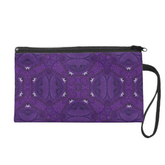 Purple decorative pattern wristlet purses