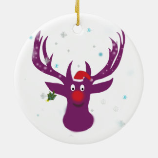 Purple Deer  Christmas New Year  Circle Ornament