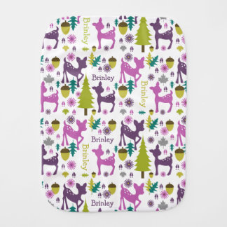 Purple Deer Personalized Burp Cloth