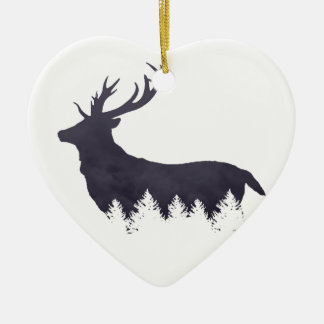 Purple Deer Silhouette With Trees and Clouds Adjus Christmas Ornament