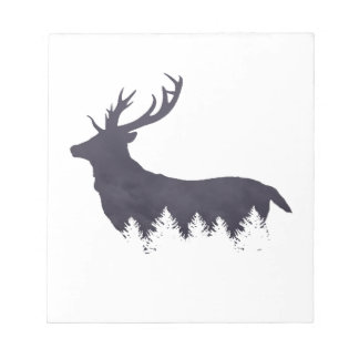 Purple Deer Silhouette With Trees and Clouds Adjus Notepad