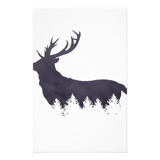Purple Deer Silhouette With Trees and Clouds Adjus Stationery