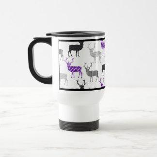 Purple Deer Stag Christmas Pattern Stainless Steel Travel Mug