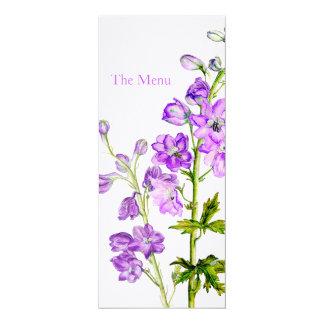 Purple delphinium art wedding dinner menu 10 cm x 24 cm invitation card