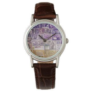 Purple Desert Wristwatch, Postage Stamp Art Watches