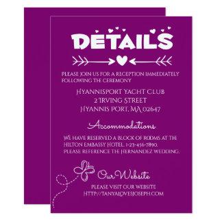 Purple Details Wedding Hearts & Butterflies Card