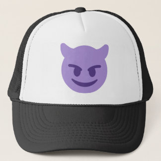 Purple Devil Emoji Trucker Hat