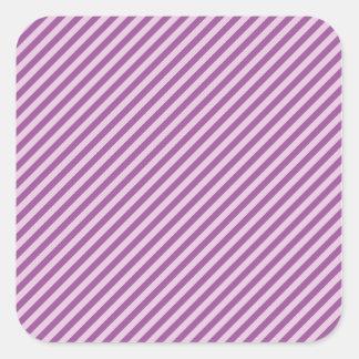 Purple Diagonal Stripes Square Sticker
