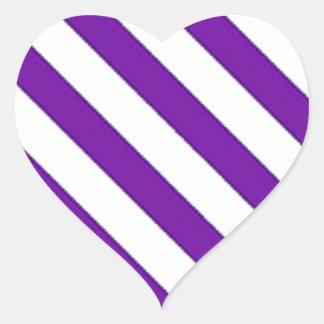 Purple Diagonal Stripes Heart Sticker