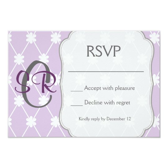 Purple diamond flower RSVP card