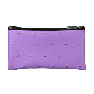 Purple Diamond Pattern with Gold Fleur-de-lis Cosmetic Bag