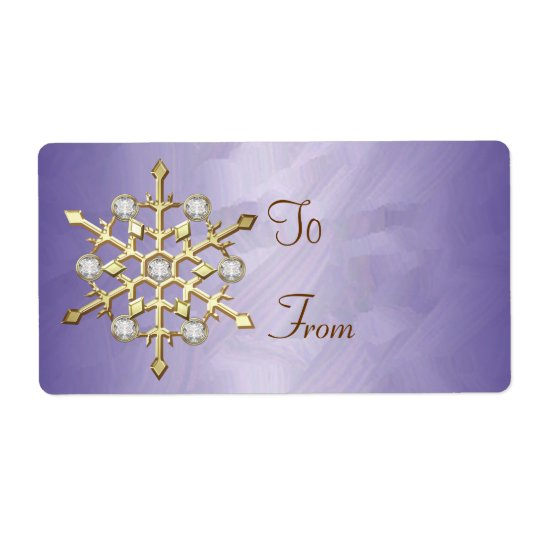Purple Diamond Snowflake Gold Gift Tag Shipping Label