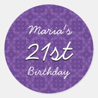 Purple Diamonds 21st Birthday Custom Name V213 Classic Round Sticker