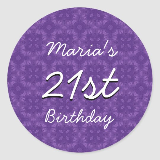 Purple Diamonds 21st Birthday Custom Name V213 Classic