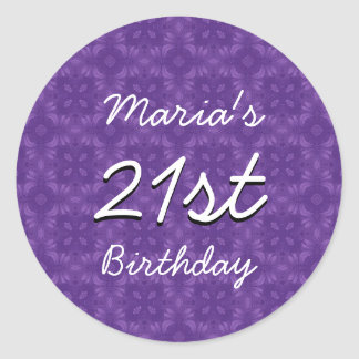 Purple Diamonds 21st Birthday Custom Name V213 Round Sticker