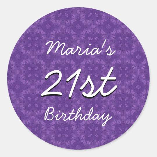 Purple Diamonds 21st Birthday Custom Name V213 Round