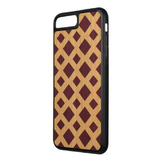 Purple Diamonds on Natural Wood Carved iPhone 8 Plus/7 Plus Case